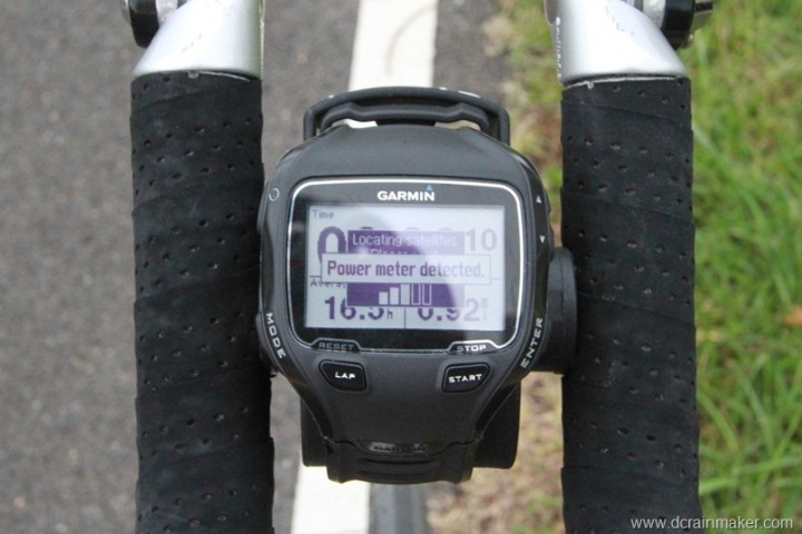 Garmin FR910XT Power Meter Detection