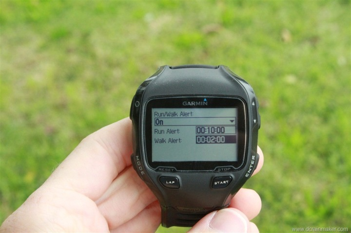 Garmin FR910XT Run/Walk Alert Setup