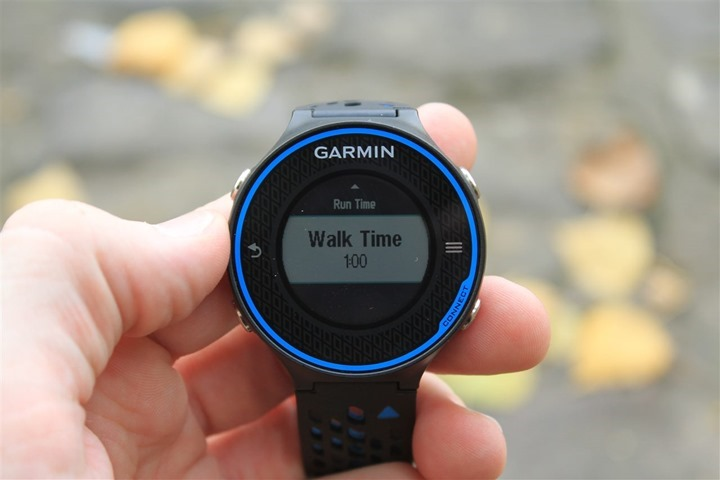 Garmin FR620 Run/Walk Alerts