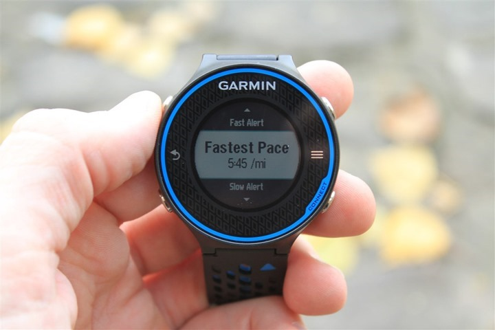 Garmin FR620 Pace Alerts