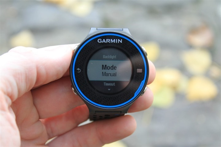 Garmin FR620 Backlight Modes