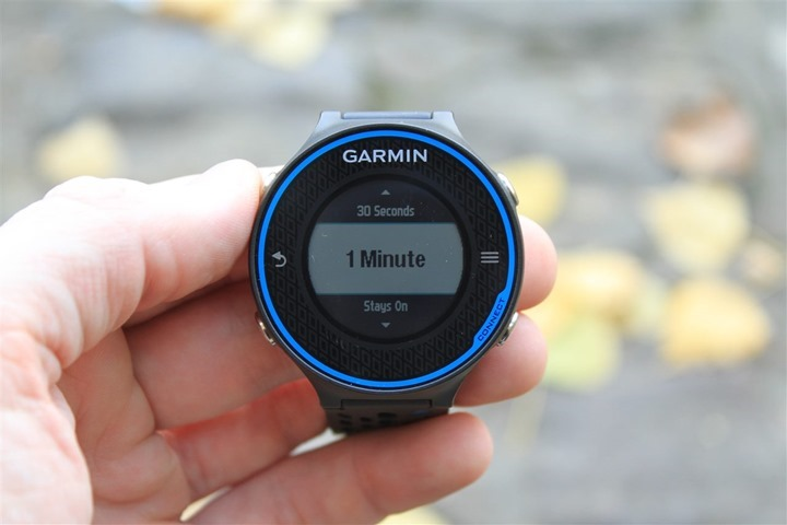 Garmin FR620 Backlight Settings