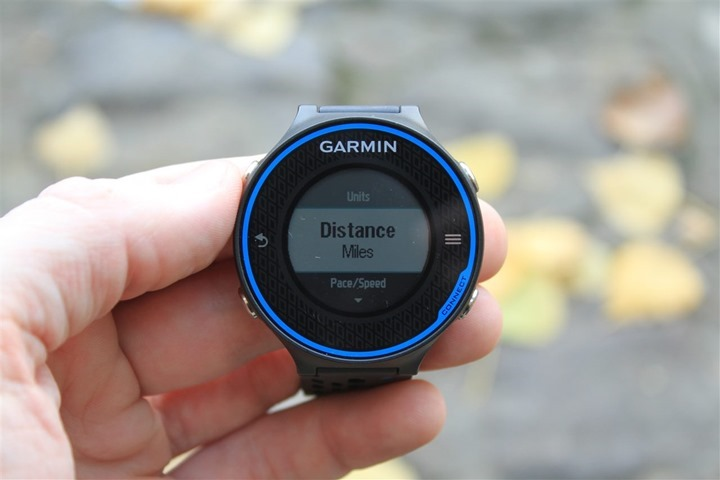 Garmin FR620 Miles & Kilometers