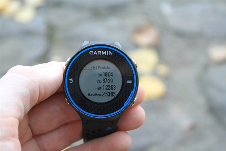Garmin FR620 Race Predictor