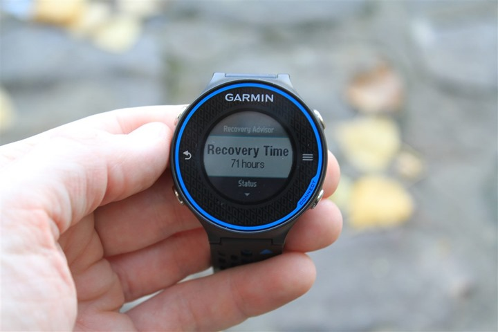 Garmin FR620 Recovery Time