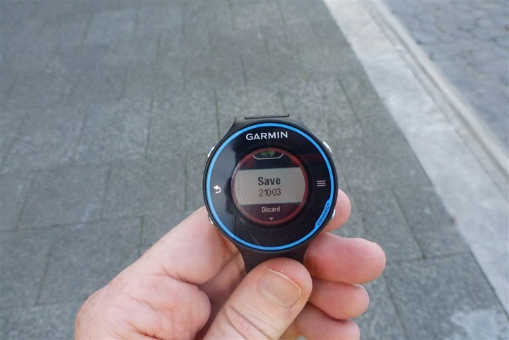 Garmin FR620 Save Run