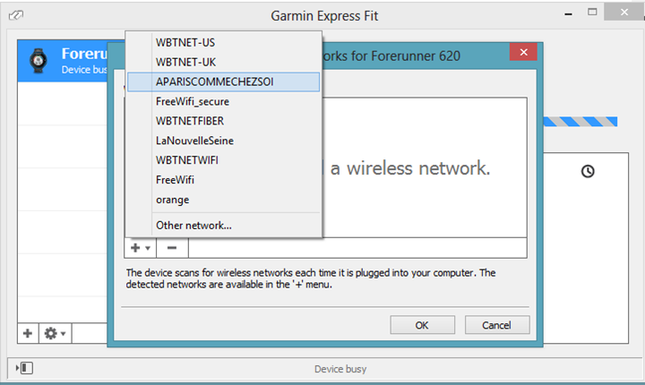 Garmin FIT Express with Garmin FR620 configuration of Wifi