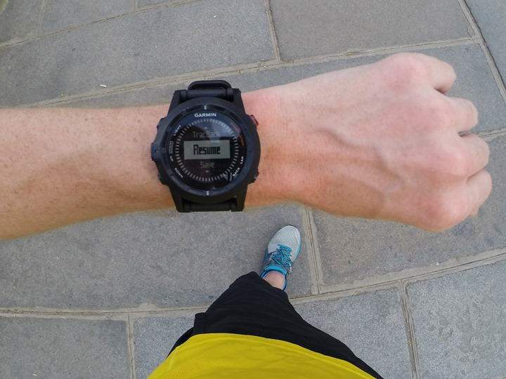 Garmin Fenix2 save and pause screen