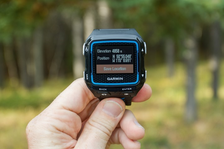 Garmin FR920XT - Current Location Menu