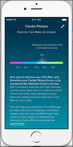 Fitbit Charge 2_Fitbit App_iOS_Cardio Fitness Level_Exercise Improvement