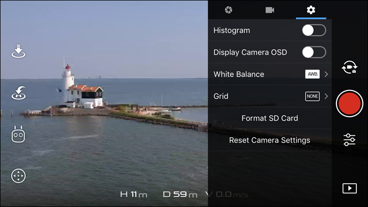 DJI Spark Video Settings Overlays