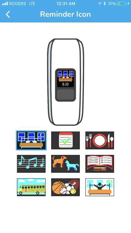 Icons on Vivofit Jr 2