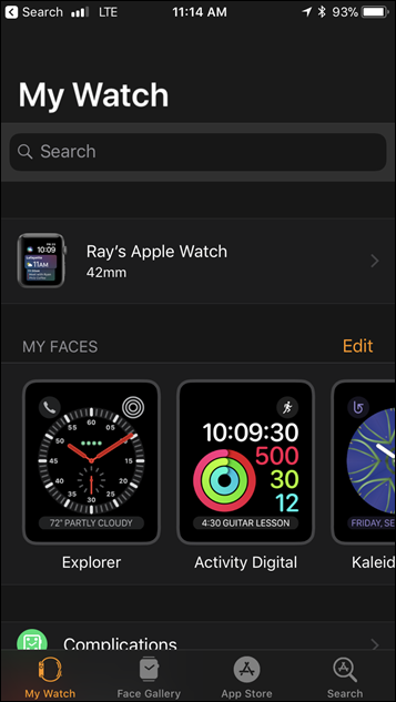 Apple Watch Series 3 Watch App Settings Panel