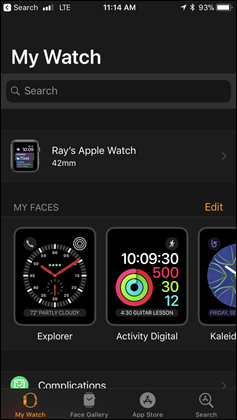 Apple Watch Main Settings
