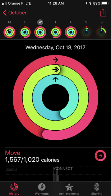 Apple Watch Series 3 Activity App Settings Panel