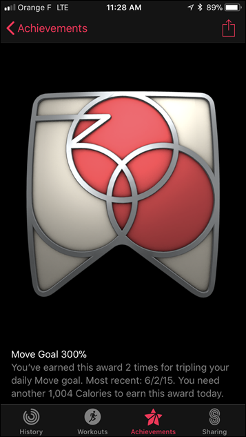 Apple Watch Series 3 Achievements and Badges Move 300%