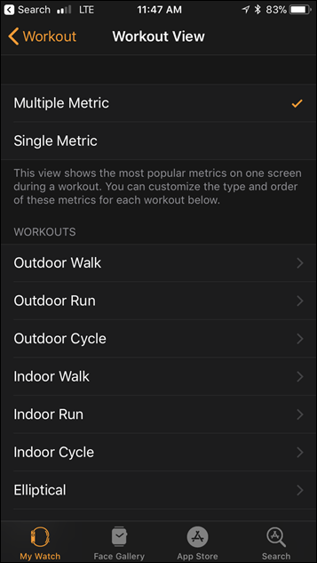 Apple Watch Series 3 Workout Views Settings
