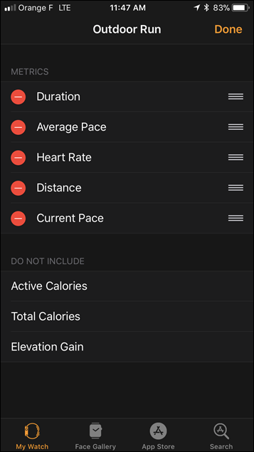 Apple Watch Series 3 Workout Field Selector