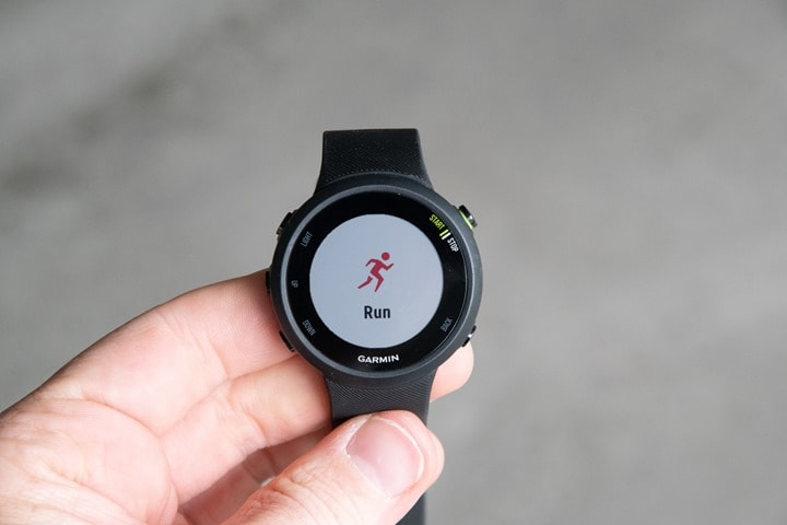 Garmin-FR45-Select-Run-Start