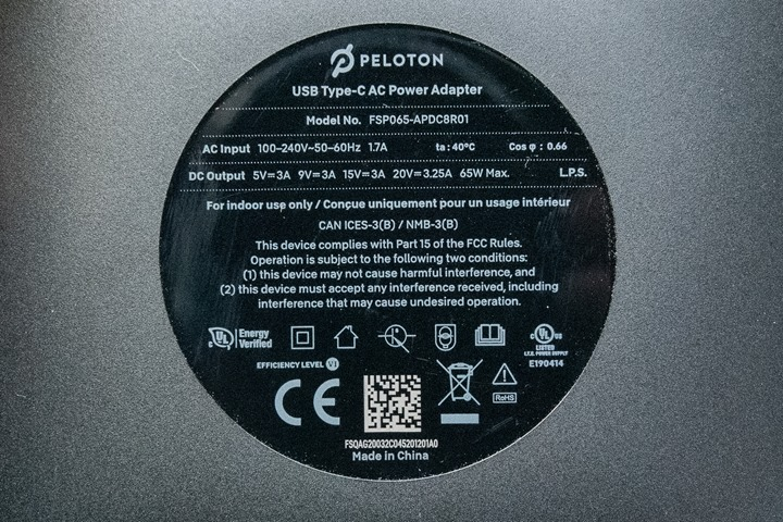 PelotonBikePlus-Close-USB-C-Power-Supply